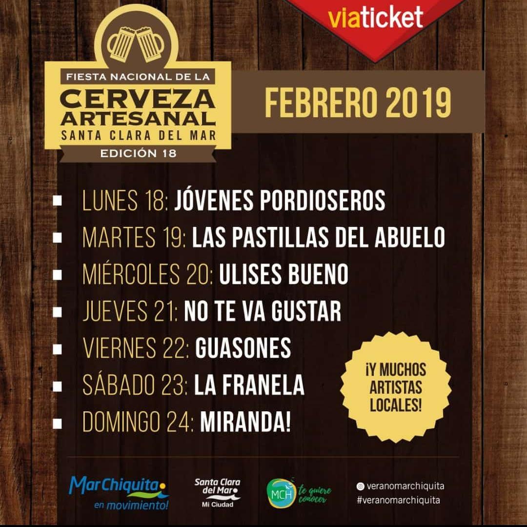 Artistas confirmados para la 18° Fiesta Nacional de la Cerveza Artesanal