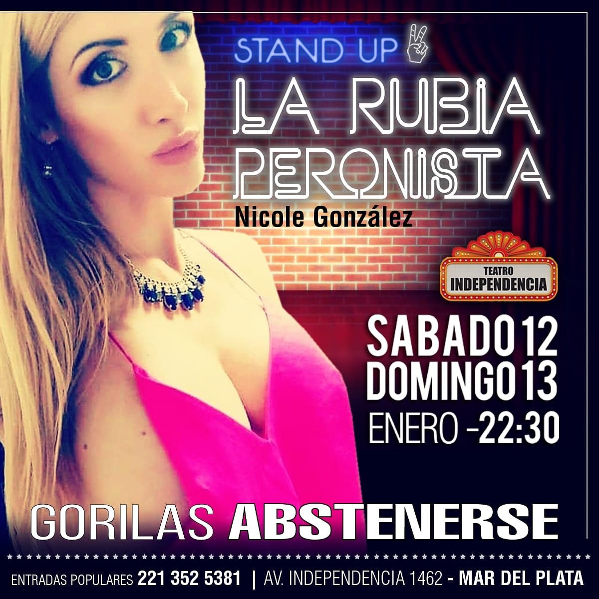 """""""La Rubia Peronista"""" presenta su show de stand up """"Gorilas abstenerse"""""""