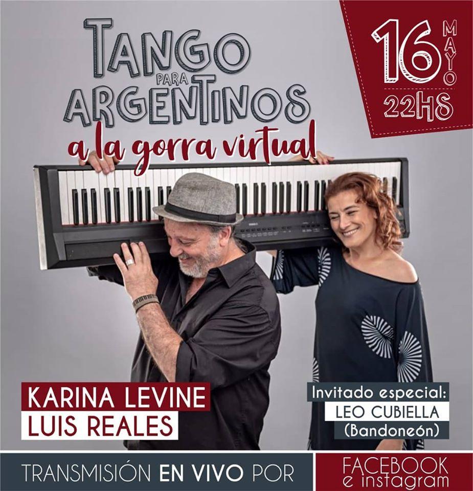"""""""Tango para argentinos"""" con Karina Levine y Luis Reales: show virtual y a la gorra"""